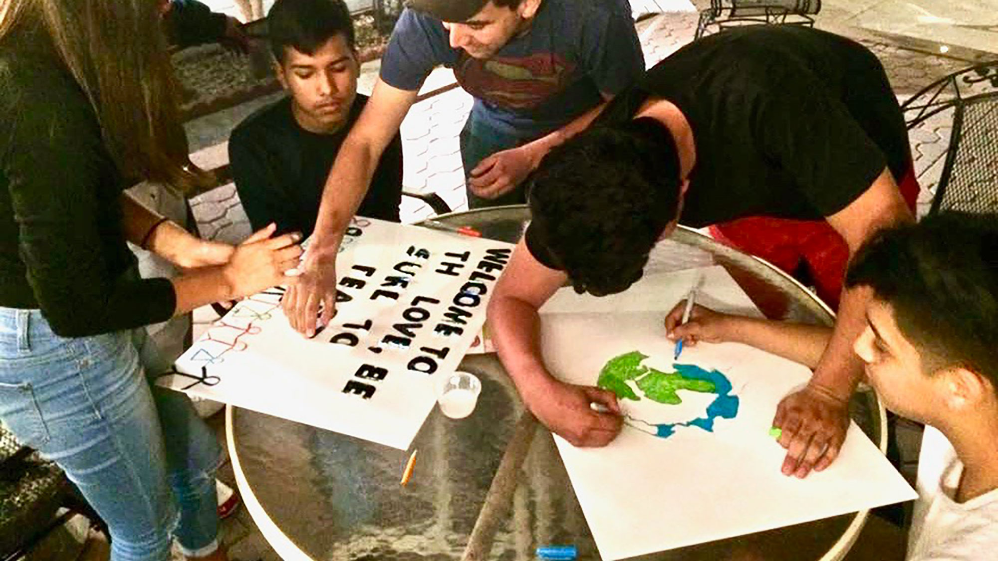 youth making posters