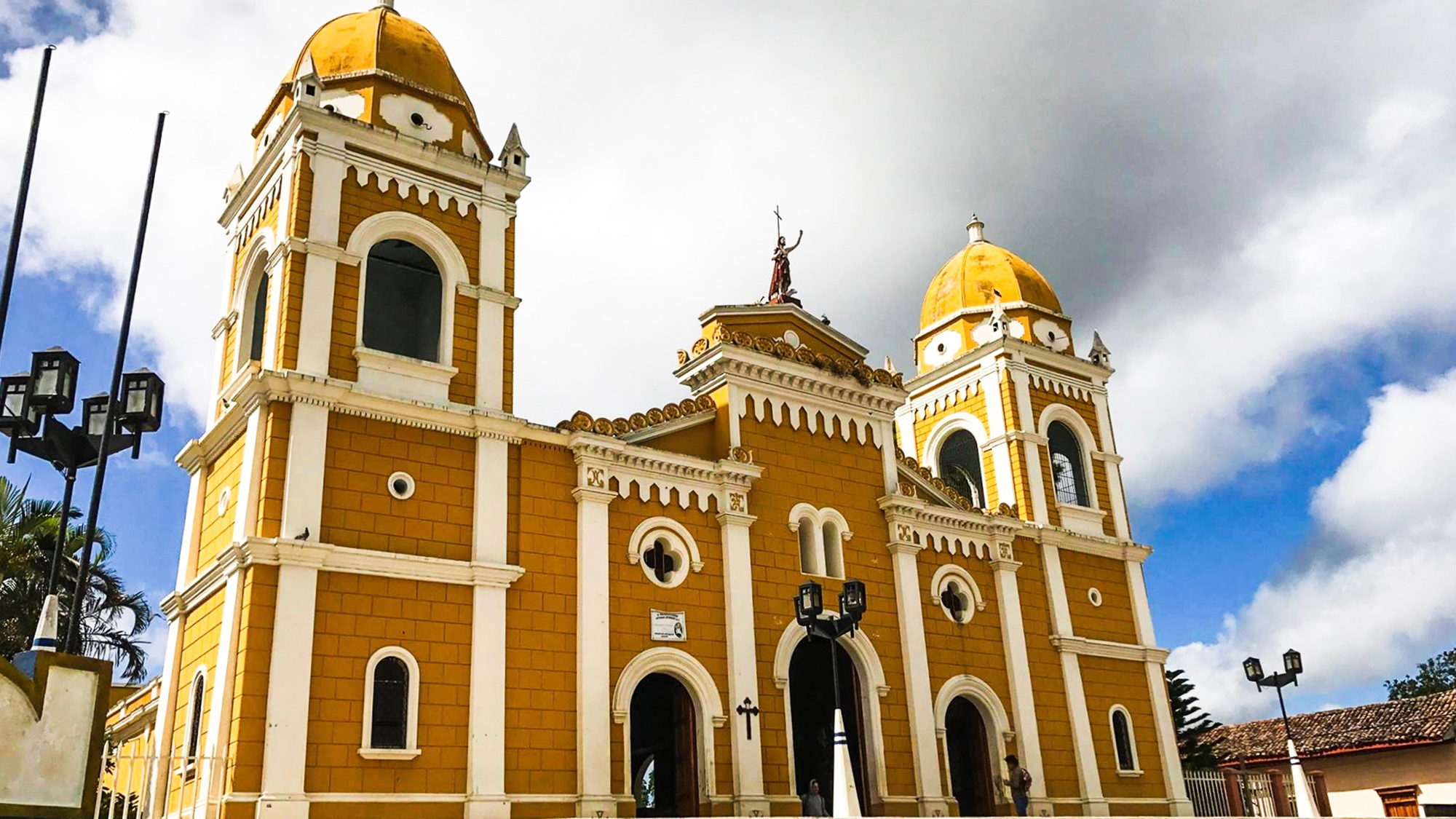 Large, Spanish-colonial style church in Masatepe, Nicaragua