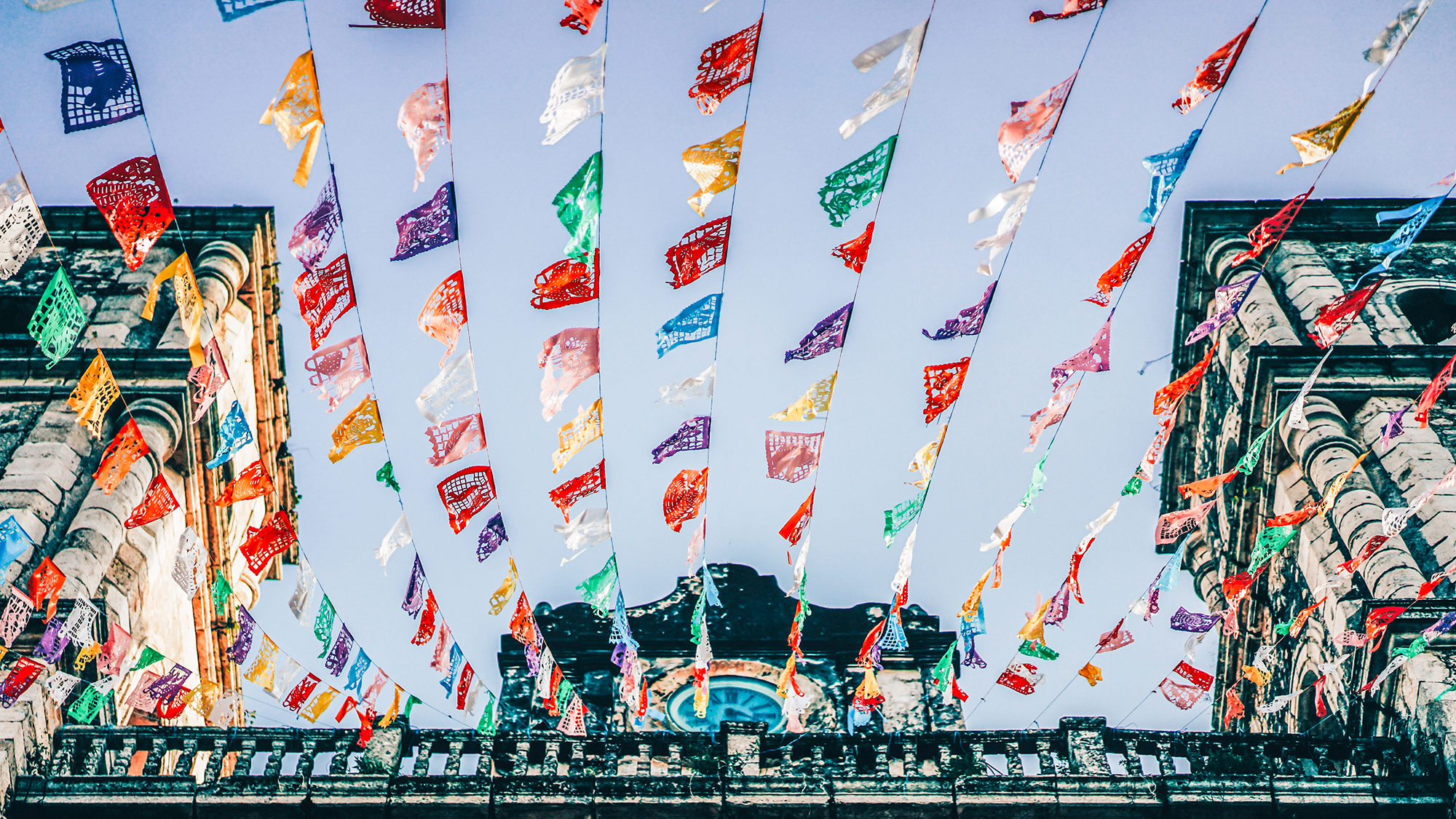 image of flags above street